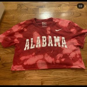 bleached distressed red nike alabama cropped tee